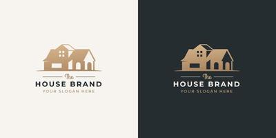 house negative space style logo design vector
