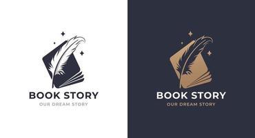 book story feather logo design vector