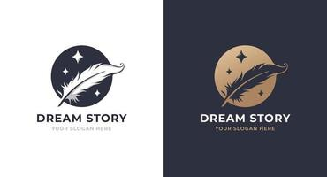 feather circle with star logo design vector