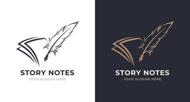 note and quill logo design vector