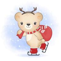 Cute little bear holding gift bag on ice skates, Christmas season vector