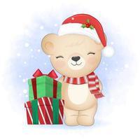 Cute Teddy bear with gift box. Winter, Christmas illustration. vector