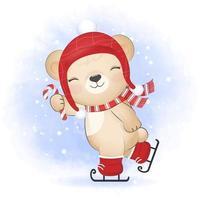Cute little bear and candy cane on ice skates, Christmas season vector