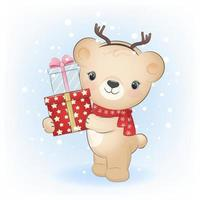 Cute little bear with gift box in winter. Christmas illustration. vector