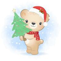 Cute little bear and Christmas tree . Winter and Christmas vector