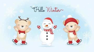 Cute little bears on ice skates and snowman, Christmas season vector
