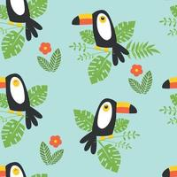 Seamless pattern with toucan tropical leavel flowers vector