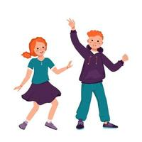 A boy in a hoodie and jeans and a girl in a skirt with red curly hair vector