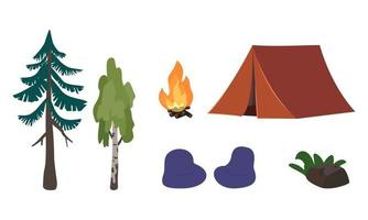 Set of forest recreation or picnic icons with tent, fire and trees vector