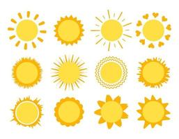 Sun with rays of different shapes. Yellow symbol of weather vector