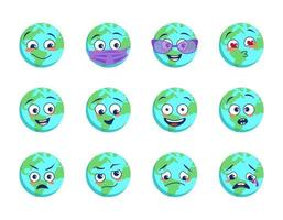 Earth planet with different emotions, medical mask and goggles vector