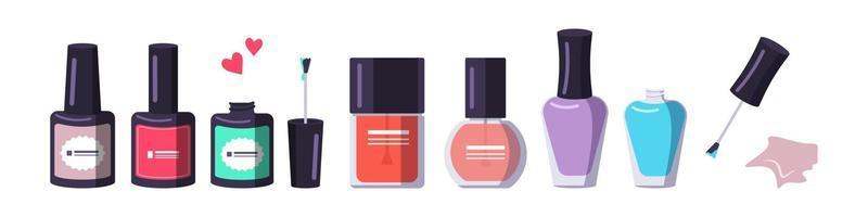 A bottle of nail polish in different shapes and colors. Manicure tools vector
