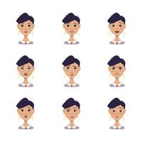 woman avatars with different emotions, black hair, in shirt and tie vector
