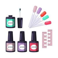 Different shapes of nail polish bottle, divider and colour picker vector