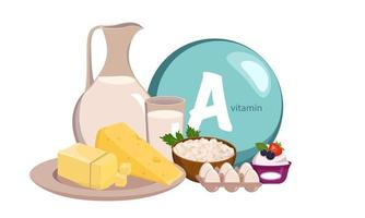 Source vitamin A, calcium and protein. Set of farm dairy products vector