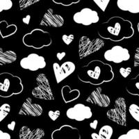 Seamless pattern of white hearts and clouds on a black background vector