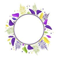 Palm leaf wreath. Round frame of bright exotic leaves vector
