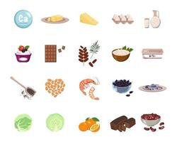 Source of calcium. A set of dairy products, nuts and dried fruits vector