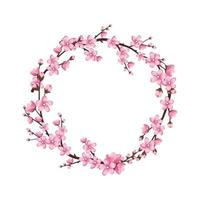 Cherry blossom wreath. Pink cute sakura flowers vector