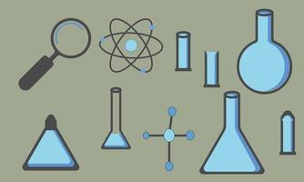 set of laboratory equipment vector