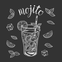 Mojito classic cocktail hand drawn vector illustration