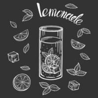 Hand drawn lemonade glass with slice of lemon, vector illustration.