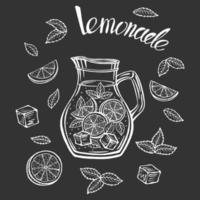 Hand drawn glass jug with lemonade, summer vector illustration