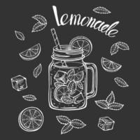 Hand drawn lemonade mug with slice of lemon, vector illustration.