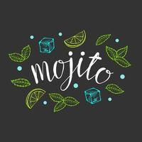Lettering Mojito classic cocktail hand drawn vector illustration.
