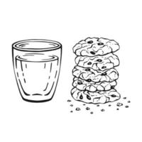 Glass and oatmeal cookies isolated on white background. Hand drawn vector