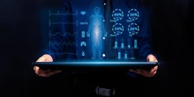 Hologram screen, scan the body, show the nutrients in the body photo