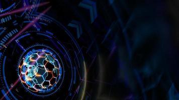Computadora de tecnología cuántica futurista con hexágono digital y láser. foto