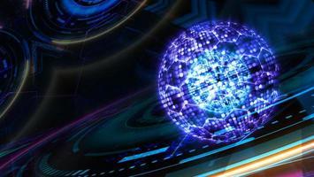 núcleo milllion abstracto foco de luz y alambre hexagonal cuántico futurista foto