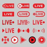 Live broadcasting icons set. Red symbols and buttons for live broadcast, broadcast, online broadcast, TV, shows, films and live performances vector