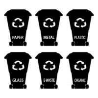 Set of black garbage cans vector