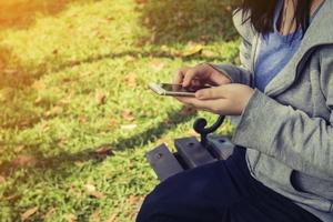 Women send message from phone to someone photo
