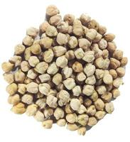 Top view of a pile of chickpeas on a white background photo