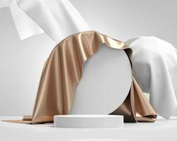 plataforma de podio blanco para exhibición de productos con vitrina de tela 3d foto