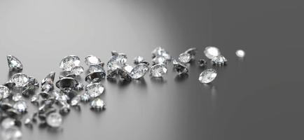 Diamond Group placed on Black Background with soft focus 3D rendering photo