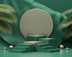 Podio de plataforma de pasos verdes para exhibición de productos con hojas de palma 3d foto