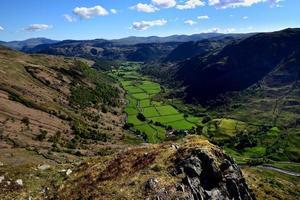 The green fields of the Seathwaite valley photo