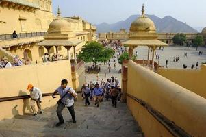 Jaipur, India - 11th November 2019, Tourists climbing the staircase at the Amber Fort photo