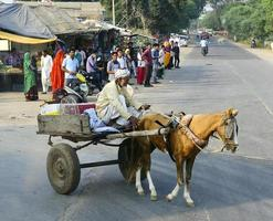 Ranthambhore, India - 10th November 2019, Horse and cart pulling out of the side street photo