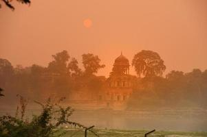 Agra, India- 8th November 2019, Riverside building at sunrise photo