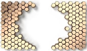 3d rendering image of hexagon solid shape on white background photo