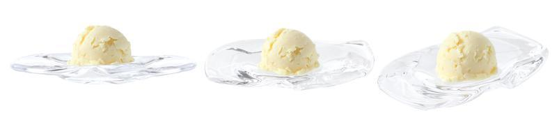 Vanilla ice cream in mini glass tray on white background photo