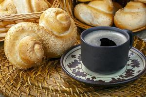 Breakfast with coffee and bread photo