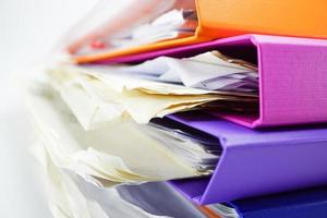 Stack binder files for business in office. photo