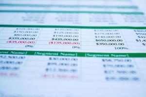 papel de hoja de cálculo para negocios contables. foto