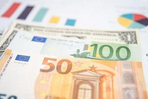 Euro banknotes money on chart graph paper. photo